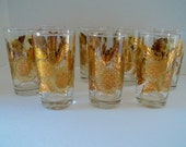 Bartlett Collins Pokee' Gold Chrysanthemum High Ball Glasses Mid Century Barware Mint