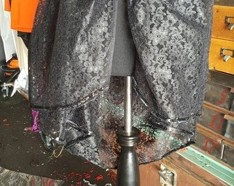 Hand sewn lace tiered skirt. Burlesque sale. Hook and eye
