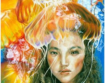 Jellyfish Girl, art print, fantasy art, jellyfish, mermaid, deep sea, ocean