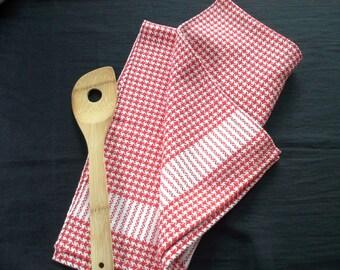 Handwoven Hound's-Tooth Check Cotton Kitchen Towel (1225B)