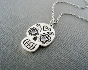 Silver Skull Necklace, Skull Pendant, Day of the Dead Necklace, Aquamarine Eyes, Silver Sugar Skull