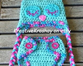 "Sleepy ""Cotton Candy"" Owl HAT ONLY - (choose Newborn 3-6 Month size)"