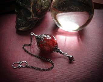 Witch Ball in Gunmetal and Blood Red. Wee Portable Spirit Catcher.