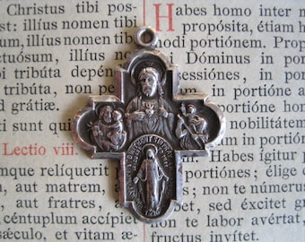 Vintage Sterling Silver Religious Medal - 4 Way Cross Medal