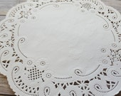 """100  French Lace Round Paper Doilies - 8 inch white doily - 8""""  large placemat"""