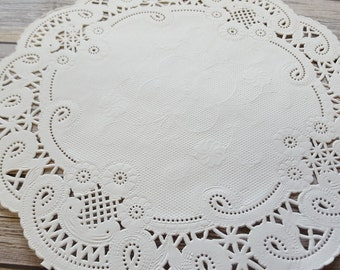 "100  French Lace Round Paper Doilies - 8 inch white doily - 8""  large placemat"