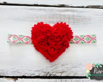 Red Heart of Roses Infant Toddler Girl Damask Headband - Shabby Chic - Christmas - Holiday - Christmas Wedding - Ready to Ship