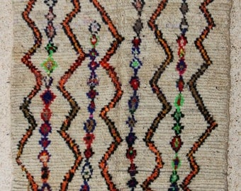 "230X140cm (7' 5""X4' 6""feet)FREE SHIPPING WORLDWIDE AZ28555 Azilal ,Ourika ,Beni Ourain vintage berber rug Morocco,wool carpet , boucherouite"
