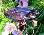 HUMMINGBIRD FEEDER, stained glass, copper, Deep Purple, Bird Feeder, garden decor, garden stake