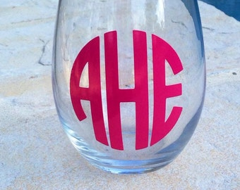 Stemless Wine Glass, Monogrammed Stemless Wine Glass, Personalized Stemless Wine Glass, Wine Glass, Bridal Party Gift