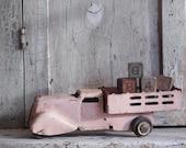 Vintage Shabby Pink Toy Truck, Pressed Steel Wyandotte 1930's Toy Stake Truck, Cottage Chic Decor