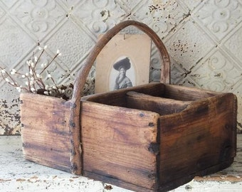 Antique Primitive Wooden Tote with Bent Wood Handle, Tool Carrier, Farmhouse Decor