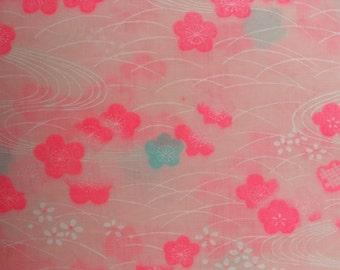 Sale COTTON MUSLIN Vintage Japanese fabric  Cherry Blossom Swirl   DOUBLE Wide  29 X  36 inches