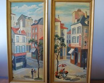 Vintage Paris Scenes - Large Paint by Numbers - Street Vendors - framed - Midcentury - Paris Apartment - Cottage Chic