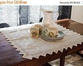 ON SALE White vintage tablecloth, small table topper / cloth centerpiece, with crocheted edges, monogrammed cloth