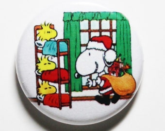 Santa Snoopy & Woostocks - 1 inch Button, Pin or Magnet