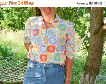 SALE Geometrical Print Multicolor Short Sleeve Shirt Vintage 70's