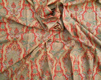 Vintage Silky Floral Fabric Cranberry Slate Blue Ochre Tan Over 1 Yard Vintage Sewing Fabric Craft Supplies
