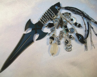 Hecate Athame  Several Blade Styles/Sizes - To honor the Goddess Hecate - Black Obsidian, Moonstone, Smoky Quartz