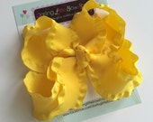 Yellow Ruffle Bow, Yellow Hairbow, Yellow Bow, Sunshine hairbow, double ruffle ribbon -- STUNNING