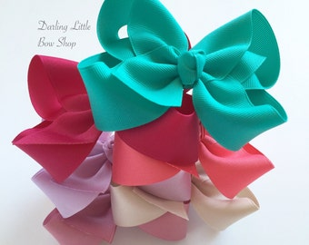 "Hairbow Set -- 6 Colors to Match Matilda Jane Once Upon A Time -- choose 3"", 4"", 5"" or 6"" bows -- m2m Matilda Jane"