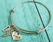 gift for niece bracelet, new niece gift, niece jewelry, birthday gift for niece, angel wing niece jewelry, niece charm bracelet personalized