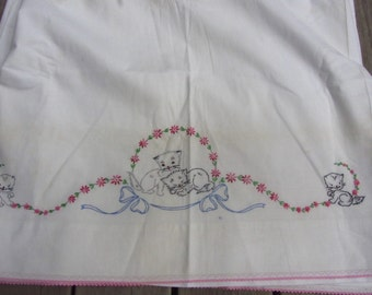 Vintage Embroidered Sheet Kittens Bows Penneys White Cotton Twin Flat