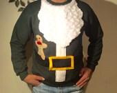 Mans Santa Claus Fleece Sweater Pullover Sweatshirt - Sizes S M L XL and XXL