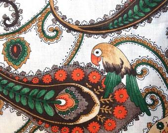 Peacock Paisley 1960's Fabric . Exotic European Design . Turkish  NWT Green White Orange // Parrot // Floral German