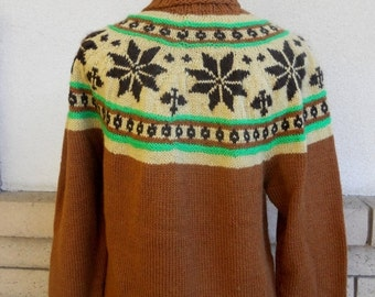 ON SALE Vintage 70s Fair Isle Sweater . Nordic Sweater . Ski Sweater . Turtleneck Pullover L-Xl
