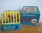Vintage Mechanical SINGING BIRD In CAGE Wind-Up Tin Toy with Box  Line Mar    Japan      1950's