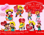 Digital Clipart, instant download, Vintage Valentines, cowboy cowgirl guitar lasso western country Valentines  puppy--8 PNG files  1711