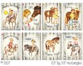Digital Clipart, instant download, Vintage Greeting Card Images--girl, boy birthday, horse, pony--8.5 by 11--Digital Collage Sheet 2107