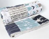 Buck Baby Blanket, Navy Blue, Arrows and Deer Patchwork Blanket, Gray Minky Crib Blanket, Woodlands Boy Bedding