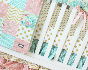 Gold Crib Set, Coral and Gold Baby Bedding - Mint, Coral and Gold Baby Girl Crib Bedding