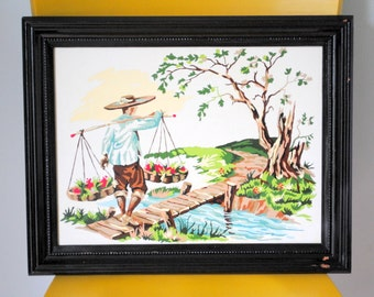 Asian Landscape Mid Century Paint By Numbers Framed Art in Chippy Distressed Black Frame