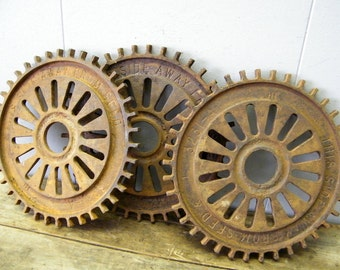 Lot of 3 Rusty Old Farm Salvage Seeder Planter Discs