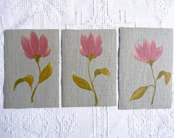 3 Small Decorative Painting Shabby and Distressed Flower