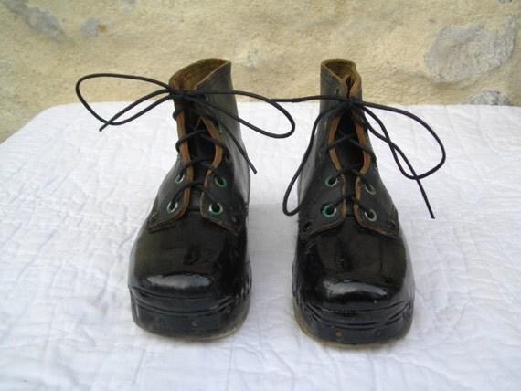 Christmas decor antique child polished shoe by