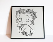 """Betty Boop - The sexy flapper icon of the 30s - Helen Kane - doodle portrait - Comics Wall Art - Ltd edition of 100 - 8"""" x 8"""" or 12"""" x 12 """""""