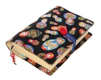 Book Cover, Little Babushka Matryoshka Nesting Dolls, Handmade Bible Case, Fabric Book Sleeve