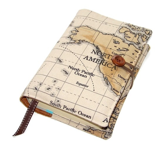Typographic Book Cover Map ~ Travel journal book cover of world map north america other