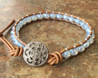 Opal, Light Blue Chinese Crystal, Single Wrap Bracelet, Layering Wrap, Tan Leather, Free Shipping