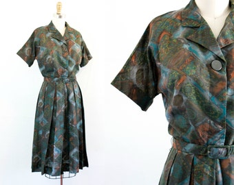 Vintage 1950s dress . Cathedral Glass . mid century print 50s /60s pleated day dress . sm /md