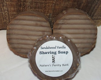 Sandalwood Vanilla Round Shaving Shave Puck Soap