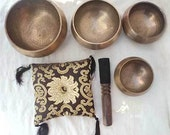 Hand Hammered Set of 4 Tibetan Singing Bowls with Cushion and Leather Stick-Handmade in Nepal