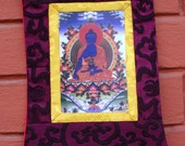 Medicine Buddha Thangka Picture  Brocade Wall Hanging