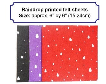 Printed sheets felt squares raindrop fabric polyester felt arts and crafts 6inch felt square uk