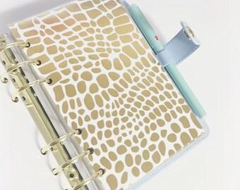 Personal Size Gold Foil Giraffe Design Laminated Dashboard for Filofax Kate Spade Agenda Kikki-k Planner
