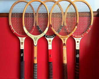 Vintage Wood Tennis Racquets Mid Century Preppy Awesome Spalding Fred Stolle Ashley Cooper World Contender Davis Pro Wright & Ditson Davis C